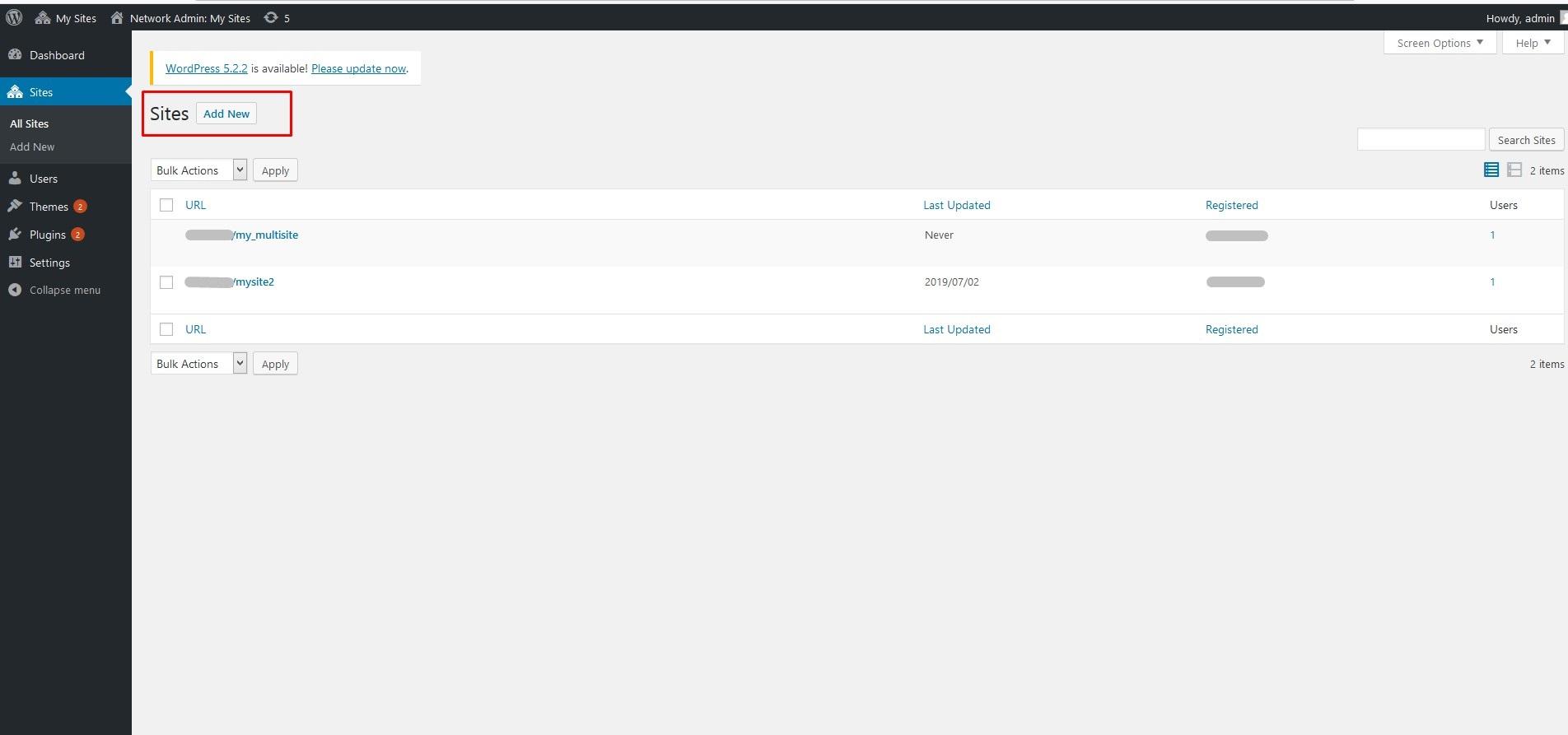 گزینه افزودن سایت جدید در شبکه وردپرس