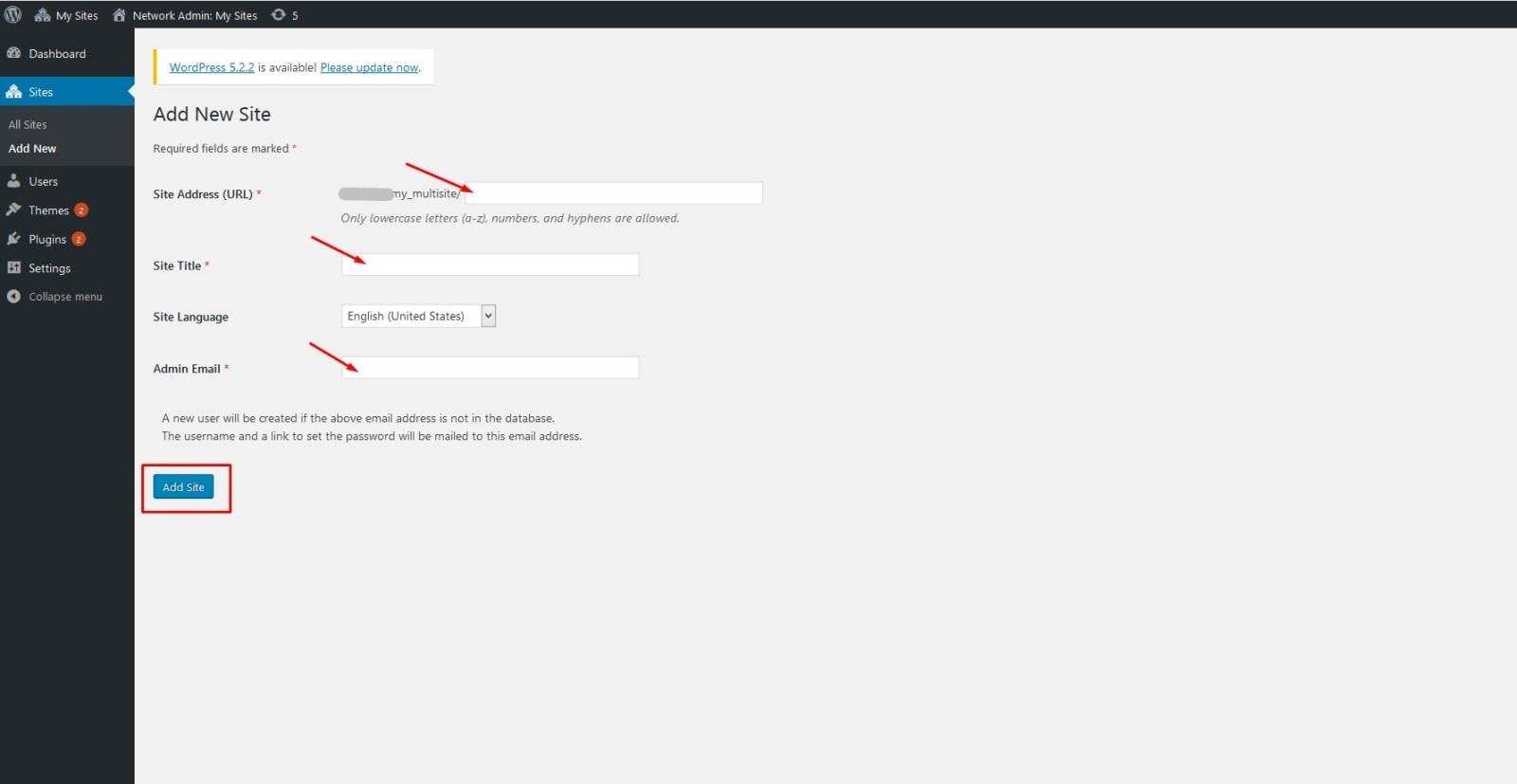 صفحه افزودن سایت جدید در شبکه وردپرس و تکمیل فیلدهای مربوط