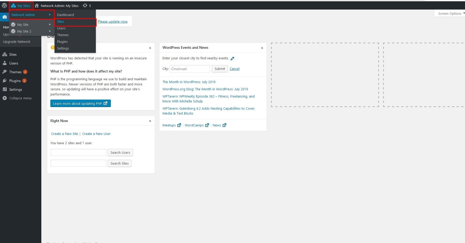 صفحه سایت ها در شبکه وردپرس