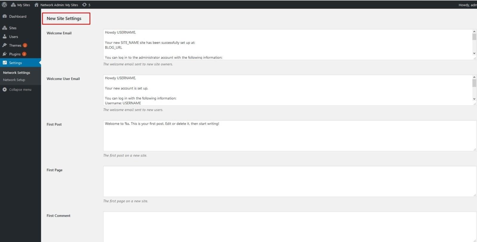 تنظیمات شبکه برای ایجاد سایت جدید