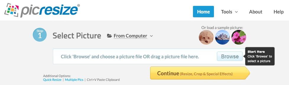 وب سایت https://picresize.com/ برای بهینه سازی ابعاد تصاویر